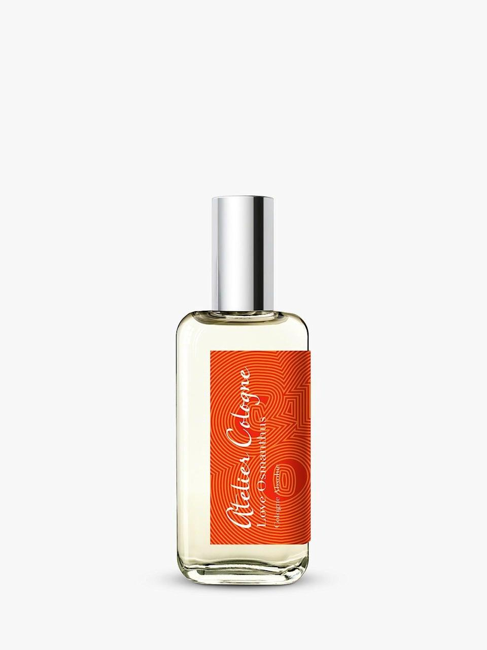 """Lemon is the most discernible note at first, evoking summertime memories, but this fragrance becomes hazy and sultry thanks to osmanthus flower, which radiates black tea and spiced plum.<br><br><strong>Atelier Cologne</strong> Love Osmanthus Cologne Absolue, $, available at <a href=""""https://www.johnlewis.com/atelier-cologne-love-osmanthus-cologne-absolue/p5135039?size=30ml"""" rel=""""nofollow noopener"""" target=""""_blank"""" data-ylk=""""slk:John Lewis"""" class=""""link rapid-noclick-resp"""">John Lewis</a>"""