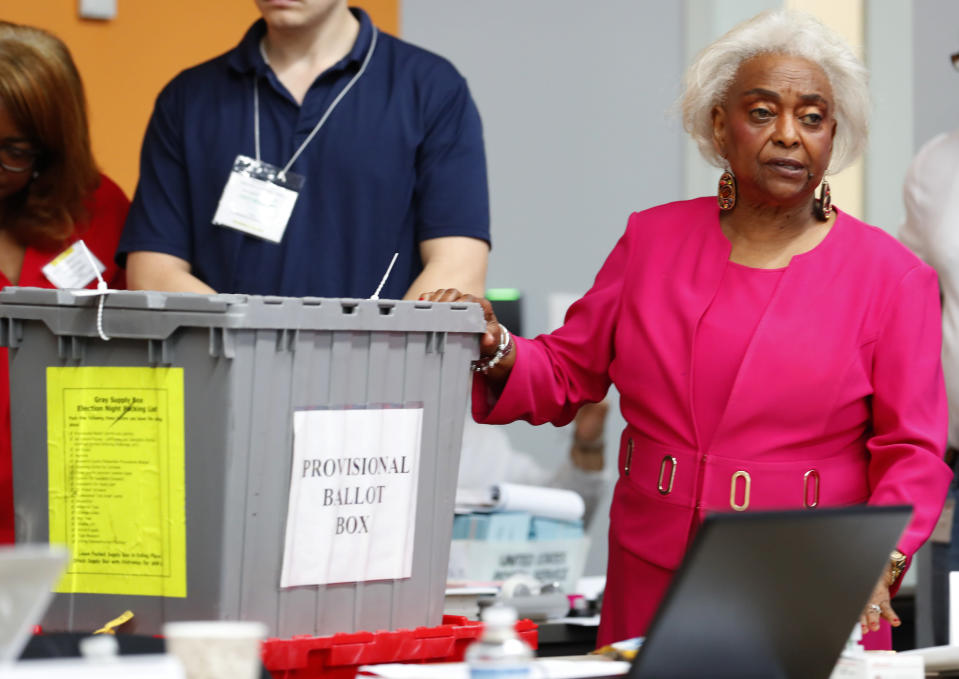 Broward County Supervisor of Elections Brenda Snipes shows a ballot box found in a rental car after the election that turned out to contain only Election Day supplies, on Nov. 12, 2018, in Lauderhill, Fla. (Photo: Wilfredo Lee/AP)