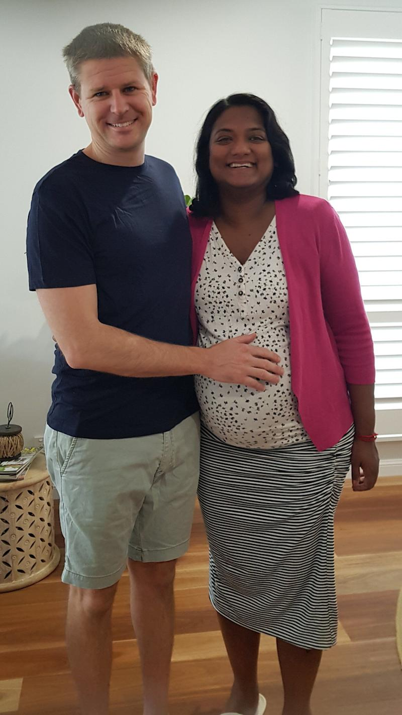 Paramedic Ben Orr was finally reunited with his wife Uma on Thursday after they spent the past seven months apart. Uma is due to give birth in Queensland next week. (Photo: Courtesy of Ben Orr)