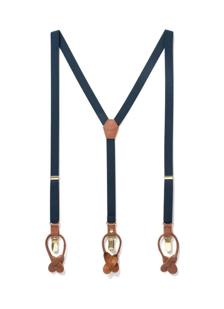 "<p><strong>JJ Suspenders</strong></p><p>jjsuspenders.com</p><p><strong>$49.00</strong></p><p><a href=""https://www.jjsuspenders.com/products/navy-baby-skinny-navy-suspenders"" rel=""nofollow noopener"" target=""_blank"" data-ylk=""slk:Shop Now"" class=""link rapid-noclick-resp"">Shop Now</a></p><p>These suspenders will give him a lift in more ways than one. </p>"