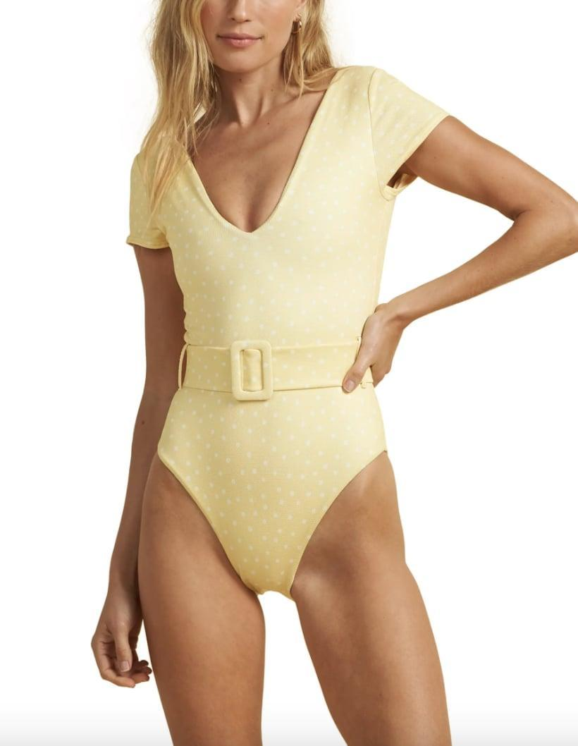 <p>Go for something '60s inspired with this bright <span>Billabong x The Salty Blonde Sundipped Cap Sleeve One-Piece Swimsuit</span> ($130).</p>