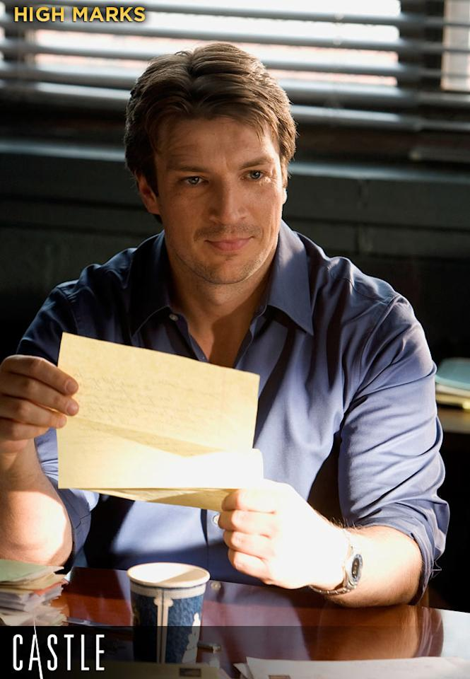 HIGH MARKS: Nathan Fillion's mystery novelist lead, Rick Castle, is easily the show's biggest asset: charismatic, rakish, intelligent, charming, and rightly full of himself. He finds himself solving crimes alongside a sexy NYPD detective upon whom he plans to base his next series of books.