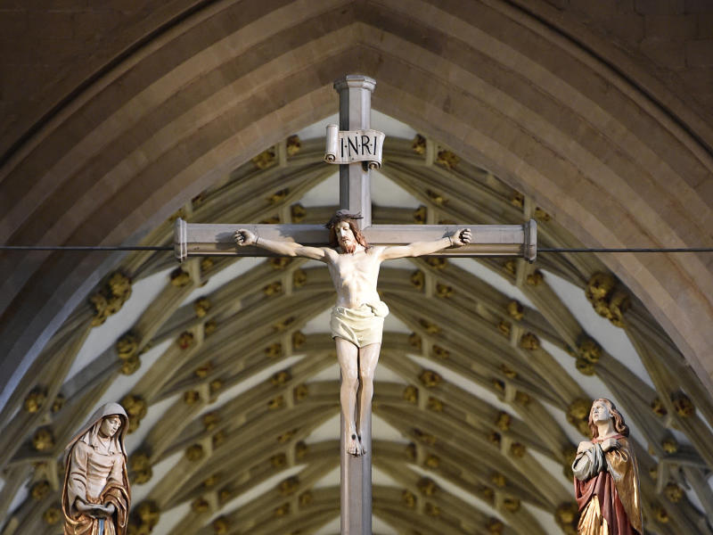 General view of a crucifix in the scissor arches of Wells Cathedral: PA Archive/PA Images