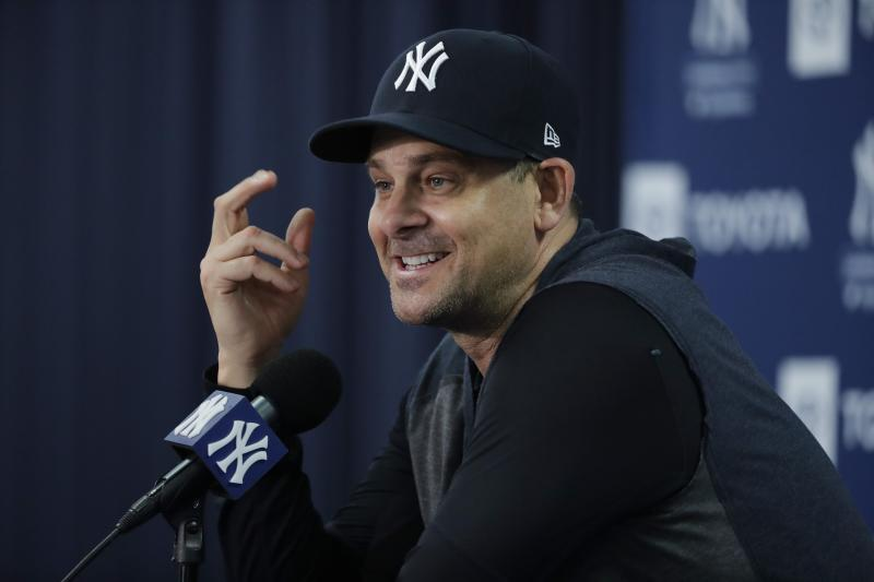 New York Yankees manager Aaron Boone speaks during a news conference after a spring training baseball workout Thursday, Feb. 13, 2020, in Tampa, Fla. (AP Photo/Frank Franklin II)