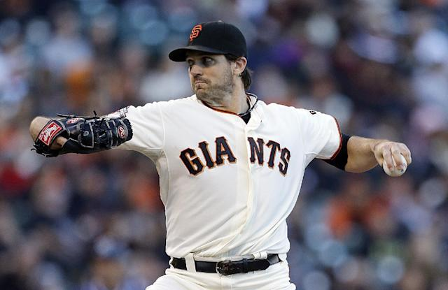 San Francisco Giants' Barry Zito works against the San Diego Padres in the first inning of a baseball game Monday, June 17, 2013, in San Francisco. (AP Photo/Ben Margot)