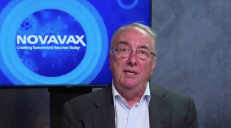 Novavax CEO Erck speaks in this still image taken from an interview on Zoom