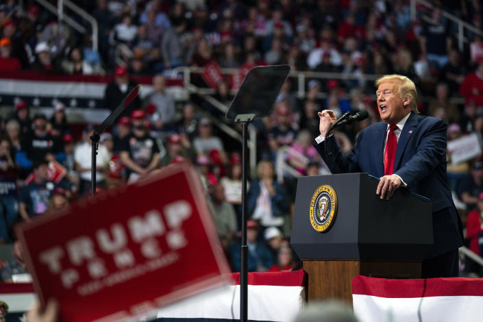 President Trump speaks during a campaign rally at Bojangles Coliseum in Charlotte on March 2. (AP Photo/Evan Vucci)