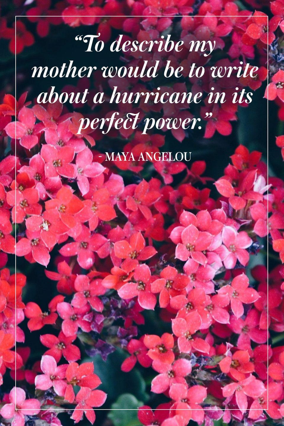 """<p>""""To describe my mother would be to write about a hurricane in its perfect power.""""</p><p>- Maya Angelou</p>"""