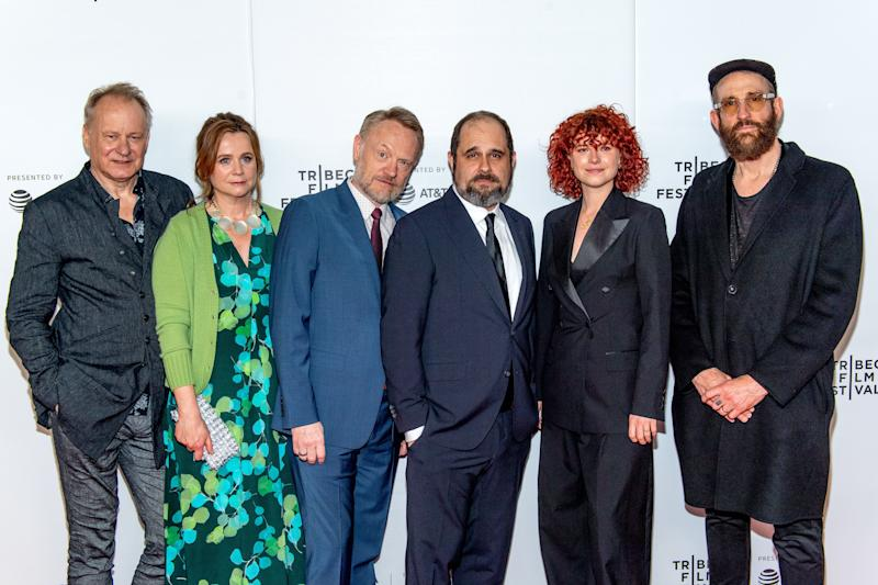 "NEW YORK, NEW YORK - APRIL 26: (L-R) Stellan Skarsgard, Emily Watson, Jared Harris, Craig Mazin, Jessie Buckley and Johan Renck attend Tribeca TV: ""Chernobyl"" at the 2019 Tribeca Film Festival at Spring Studio on April 26, 2019 in New York City. (Photo by Roy Rochlin/Getty Images for Tribeca Film Festival)"