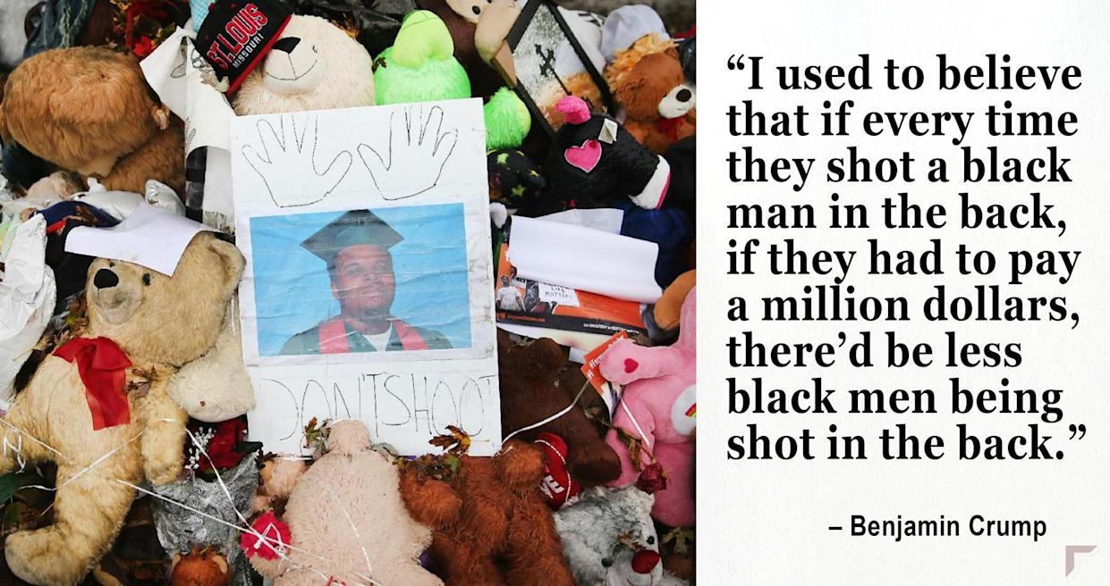 A makeshift memorial near the spot where 18-year-old Michael Brown was shot in Ferguson. (Photo: Scott Olson/Getty Images)