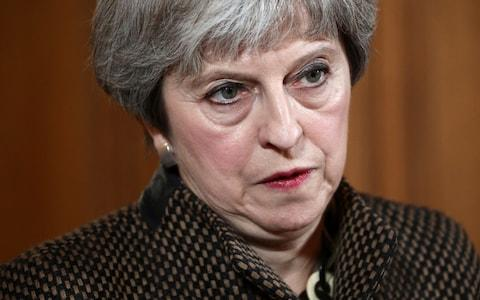 Prime Minister Theresa May during a press conference in 10 Downing Street after the air strikes - Credit: Simon Dawson/PA