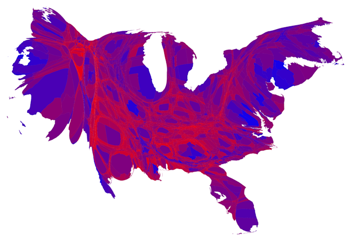 As the image makes clear, a large swath of the country is evenly divided (purple). Heavily Democratic areas (blue) are visible in larger cities. Strongly Republican areas (red) show smaller populations, which is why they are smaller on the map.