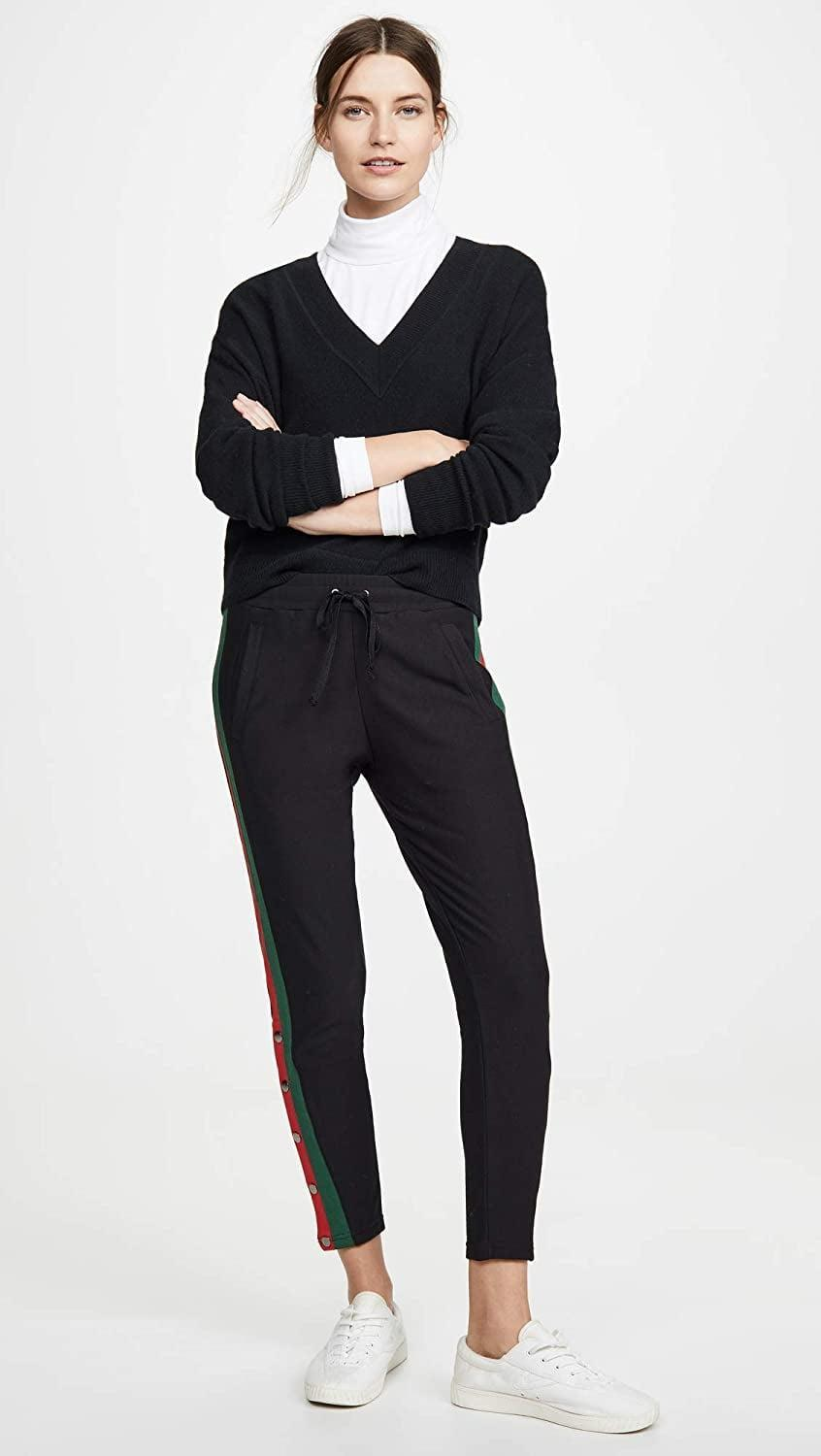 <p>We love the side stripes on these <span>Plush Fleece Lined Tuxedo Track Pants</span> ($97).</p>