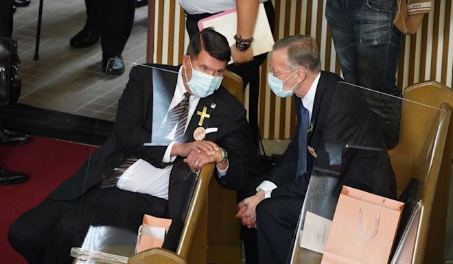 US undersecretary for economic growth, energy and the environment Keith Krach (left) at the former president's funeral in Taipei. Photo: EPA-EFE