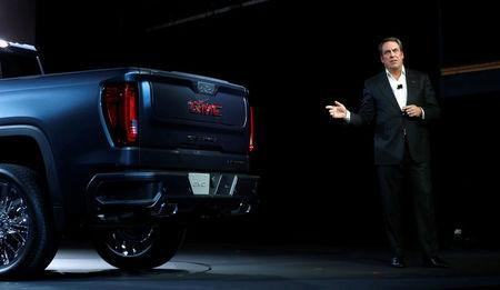 General Motors Executive Vice President Global Product Design Mark Reuss talks about the new 2019 GMC Sierra Denali pickup truck at the Russell Industrial Center in Detroit,