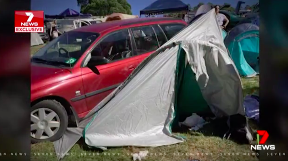 """""""It didn't hit home until I saw the car on top of the tent,"""" friend Rebecca Dickson said. Source: 7News"""
