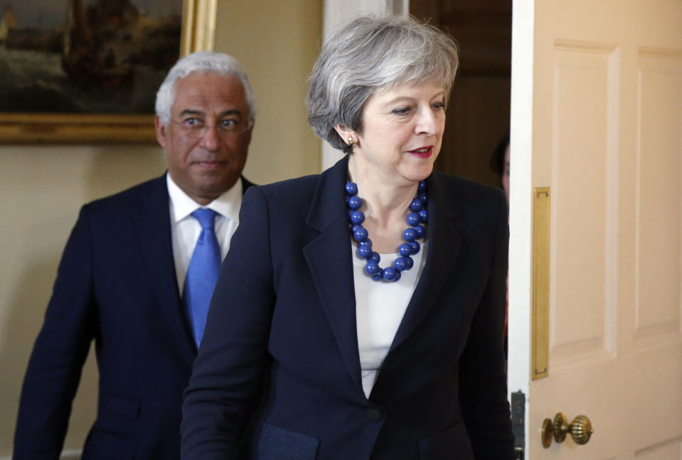 """<em>""""Reprehensible"""" – Theresa May (pictured here welcoming the Prime Minister of Portugal, Antonio Costa, to Downing Street) has said the reports of a chemical attack in Syria are """"utterly reprehensible"""" (Picture: AP)</em>"""