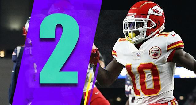 <p>The Chiefs aren't falling in the rankings for a few reasons: There's no shame in a last-play loss at New England, and their entire body of work is still very impressive. (Tyreek Hill) </p>
