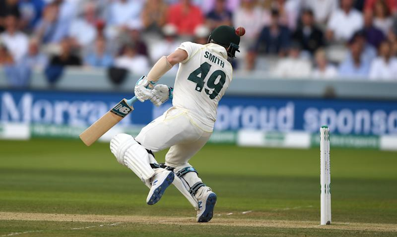 Steven Smith is hit in the head by a ball from Jofra Archer of England during day four of the 2nd Ashes Test at Lord's. (Photo by Gareth Copley/Getty Images)