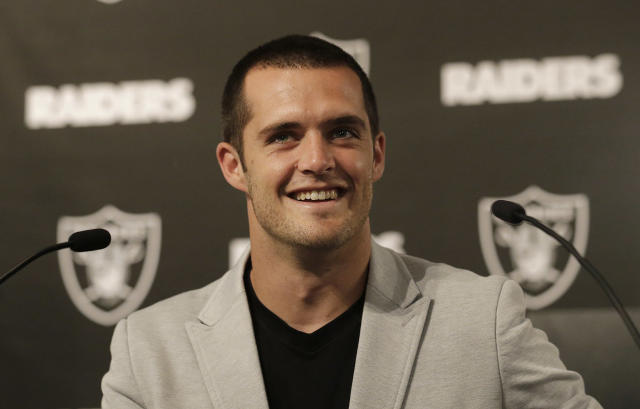 "<a class=""link rapid-noclick-resp"" href=""/nfl/players/27564/"" data-ylk=""slk:Derek Carr"">Derek Carr</a> is apparently starting a music career. (AP)"