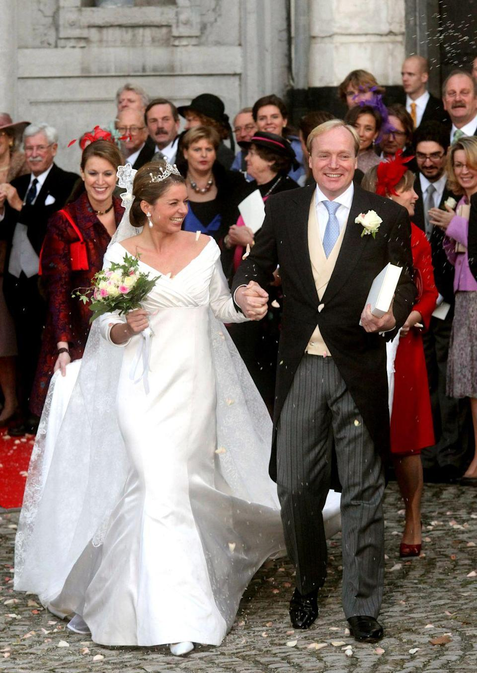 <p>Annemarie, Duchess of Parma and Piacenza married Prince Carlos of Bourbon-Parma on June 12, 2010 in Wijk bij Duurstede, Netherlands. Duchess Annemarie's mermaid-style dress highlighted a crisscrossed, ruched bodice and an elegant train.</p>
