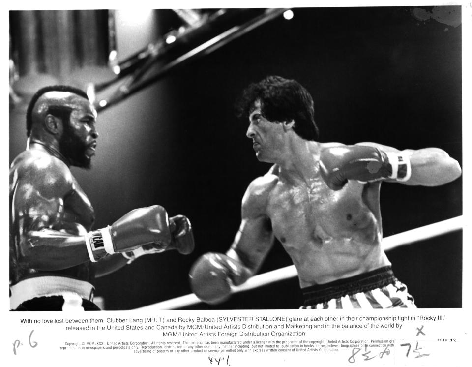 "Actors Mr. T and  Sylvester Stallone on set of the MGM/United Artist movie ""Rocky III"" in 1982.  (Photo by Michael Ochs Archives/Getty Images)"