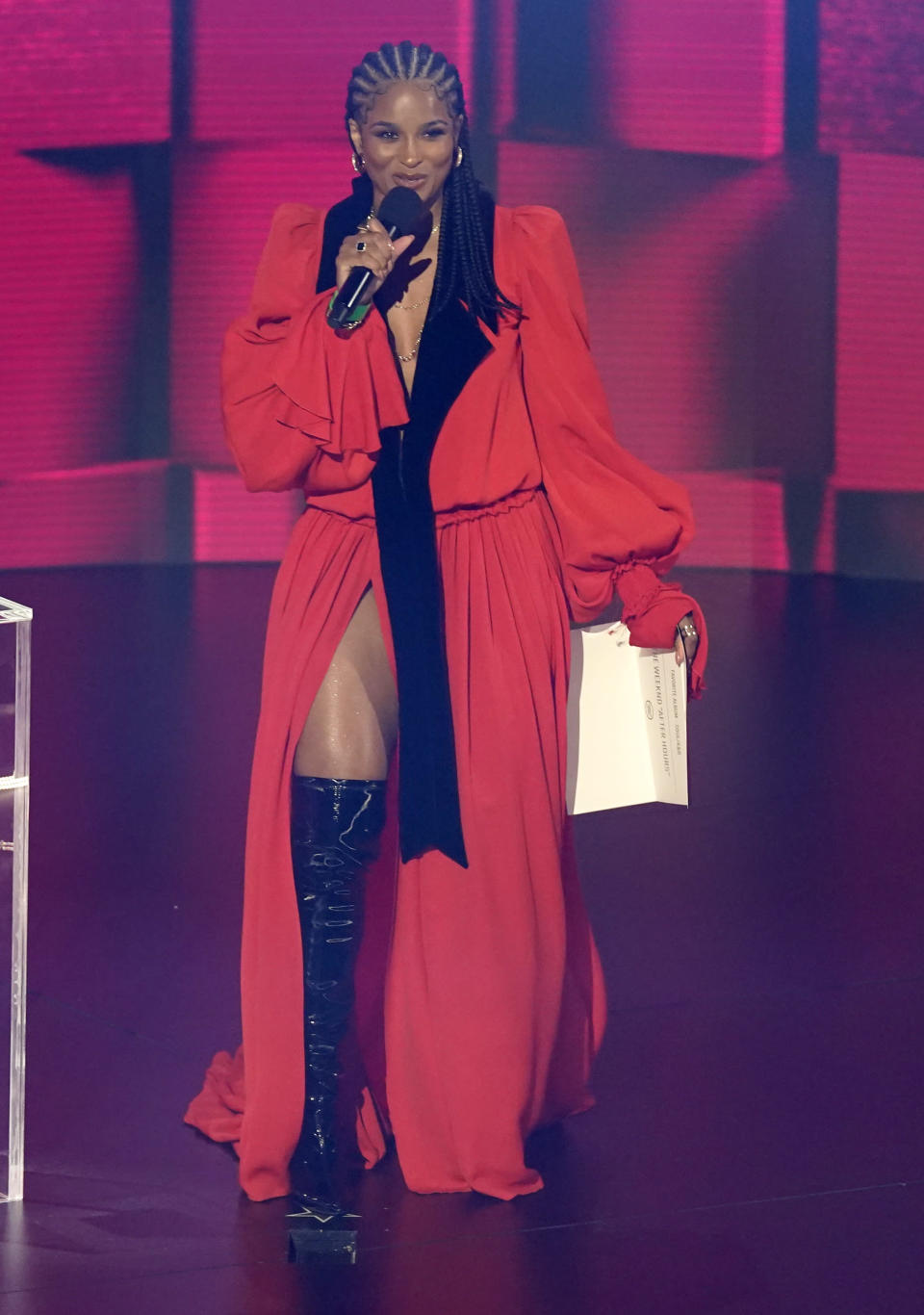 CORRECTS YEAR TO 2020 - Ciara presents the award for favorite soul/R&B album at the American Music Awards on Sunday, Nov. 22, 2019, at the Microsoft Theater in Los Angeles. (AP Photo/Chris Pizzello)