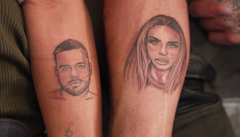 Katie Price and Carl Woods got each other's face tattooed on their forearms. (YouTube/The Adventures of Katie and Carl)
