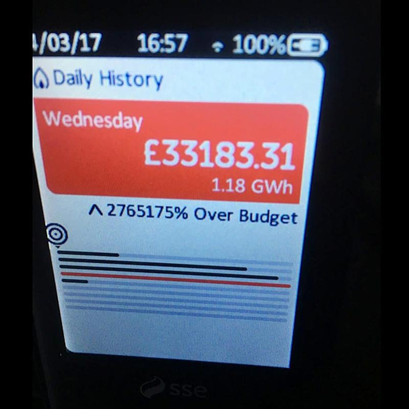 Customer Mark Umpleby uploaded this picture on Twitter of his malfunctioning SSE smart meter.  -  @MarkUmpl/PA