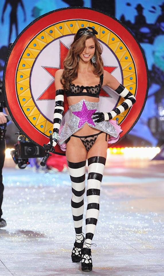 Karlie Kloss walks the runway during the 2012 Victoria's Secret Fashion Show at the Lexington Avenue Armory on November 7, 2012 in New York City.