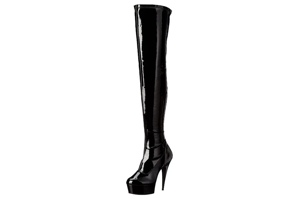 black, thigh-high boots, over the knee boots, pleaser
