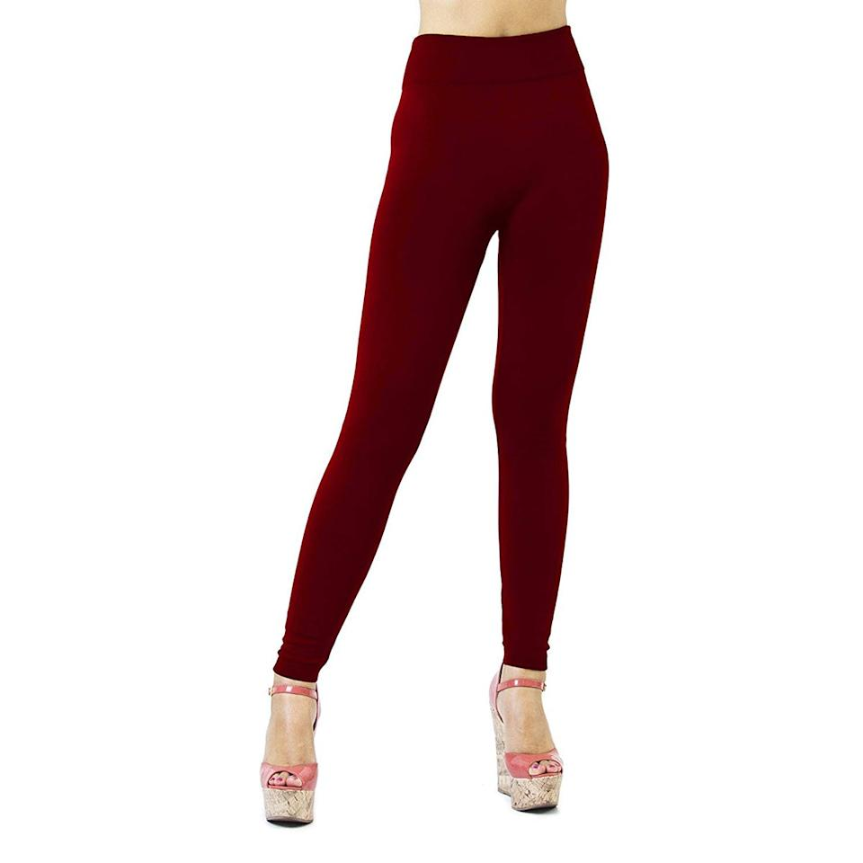 """<p>While they aren't recommended for the gym, this seamless, full-length style is more polished than other options, making them perfect for layering with your wardrobe staples for a night out or casual get-together. Amazon shoppers have given them over 1,600 rave reviews, praising their soft feel and versatile look. And if you're tired of black leggings, try one of their other 33 colors, from pretty purple (the wine hue is pictured here) to rich brown. </p> <p><strong>To buy</strong>: From $16; <a href=""""https://www.amazon.com/Monarchy-Womens-Seamless-Leggings-Charcoal/dp/B00F9RNWLS/ref=as_li_ss_tl?ie=UTF8&linkCode=ll1&tag=rsfasfleeceleggingsamazonjmattern0119-20&linkId=5441c5ff2d06fb2f2ae908300cb83beb"""">amazon.com</a></p>"""