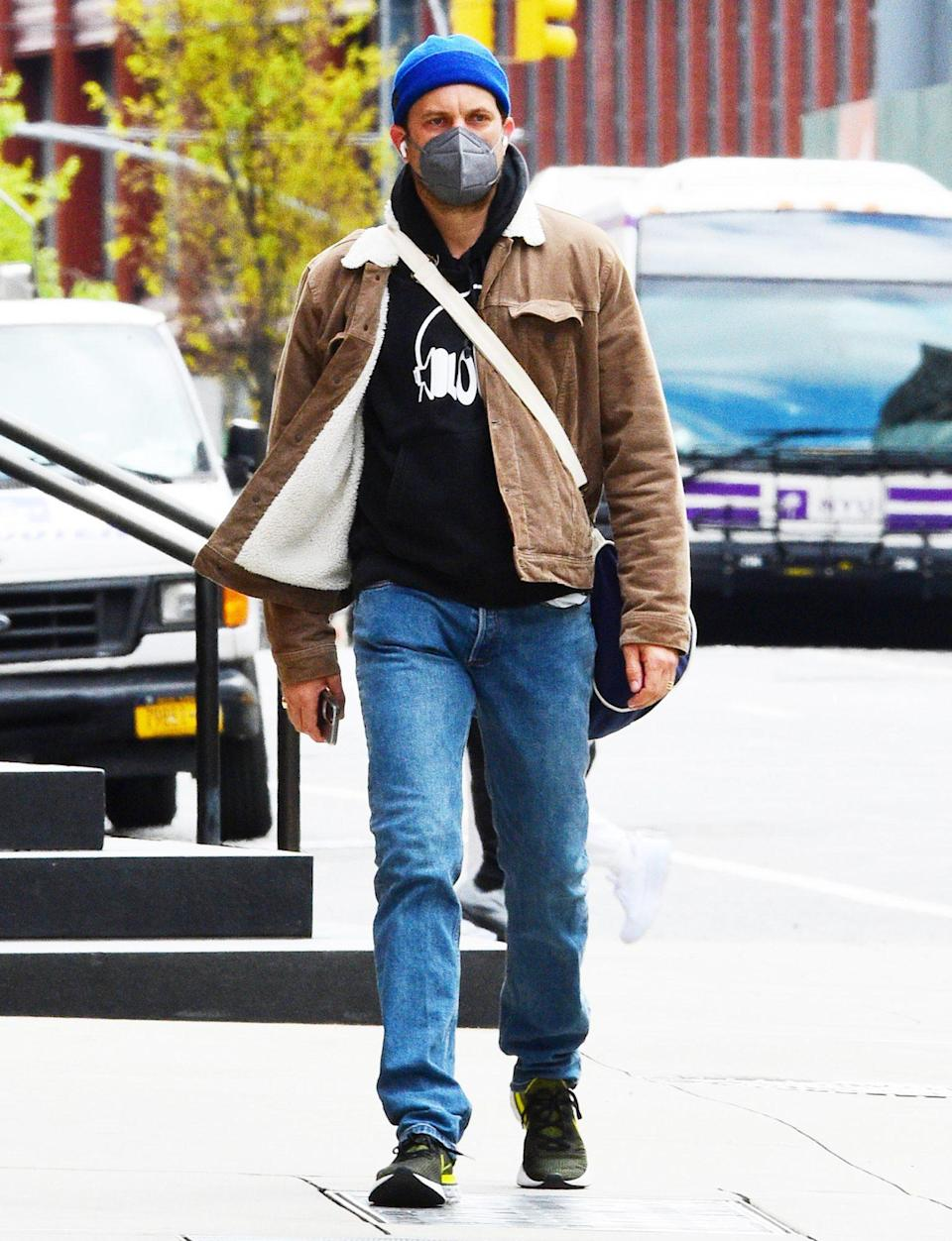 <p>Joshua Jackson sports a bright blue beanie while out and about in N.Y.C. on Wednesday. </p>
