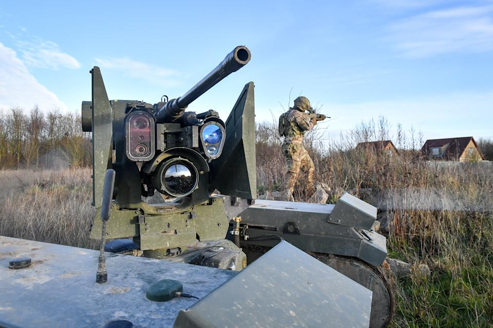 STANDALONE PHOTO The barrel and sight equipment on top of a Titan Strike unmanned ground vehicle, equipped with a .50 Caliber machine gun, moves and secures ground on Salisbury Plain during exercise Autonomous Warrior 18, where military personnel, government departments and industry partners are taking part in Exercise Autonomous Warrior, working with NATO allies in a groundbreaking exercise to understand how the military can exploit technology in robotic and autonomous situations. (Photo by Ben Birchall/PA Images via Getty Images)