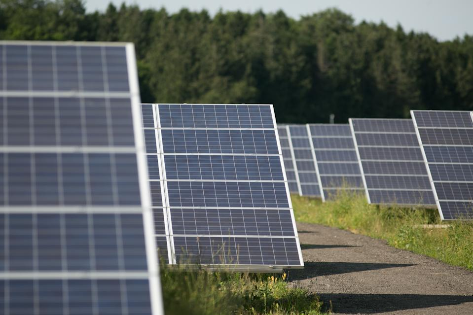 Solar panels at Kencot solar farm in Lechlade. Photo: Daniel Leal-Olivas/PA Wire/PA Images