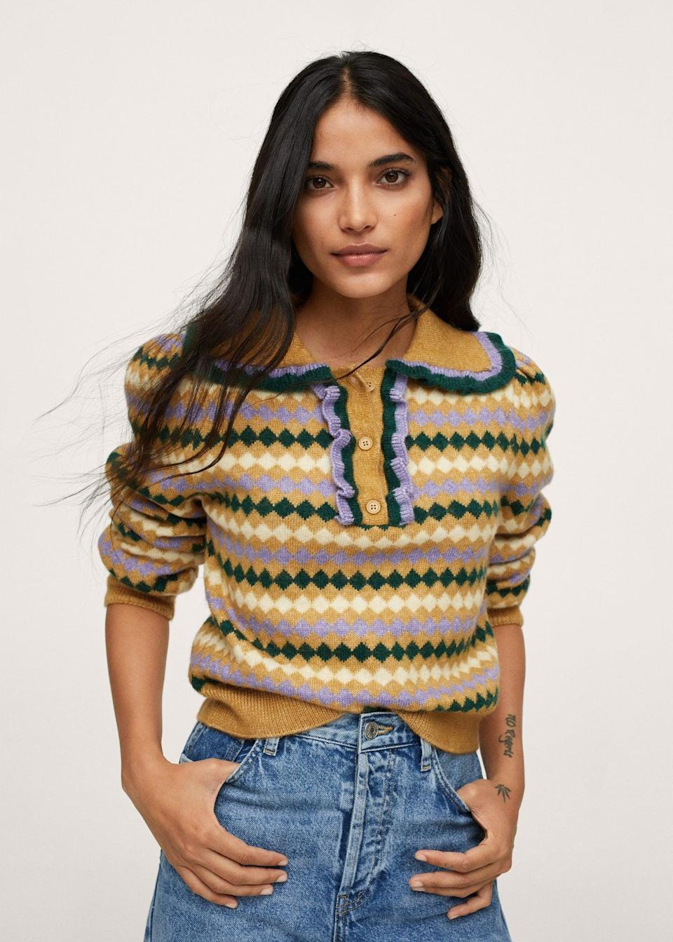 <p>This <span>Mango Printed Knit Sweater</span> ($42, originally $60) is so pretty to look at, plus you'll have no problem styling it. Wear it with jeans, a slip skirt, or literally everything else.</p>