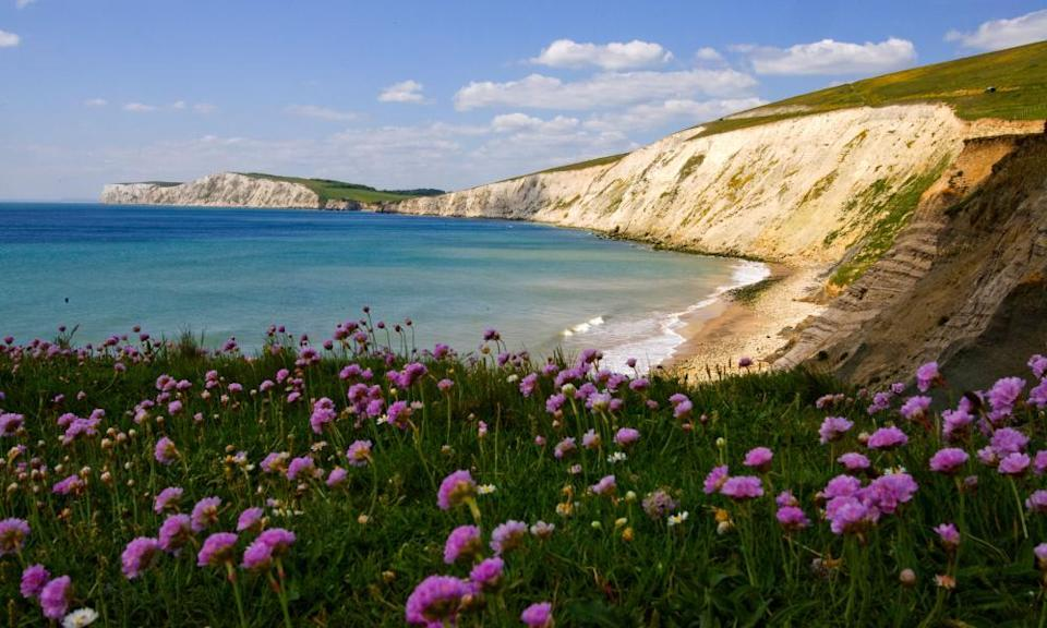 Get away from it all: chalk cliffs at Compton Bay on the Isle of Wight.