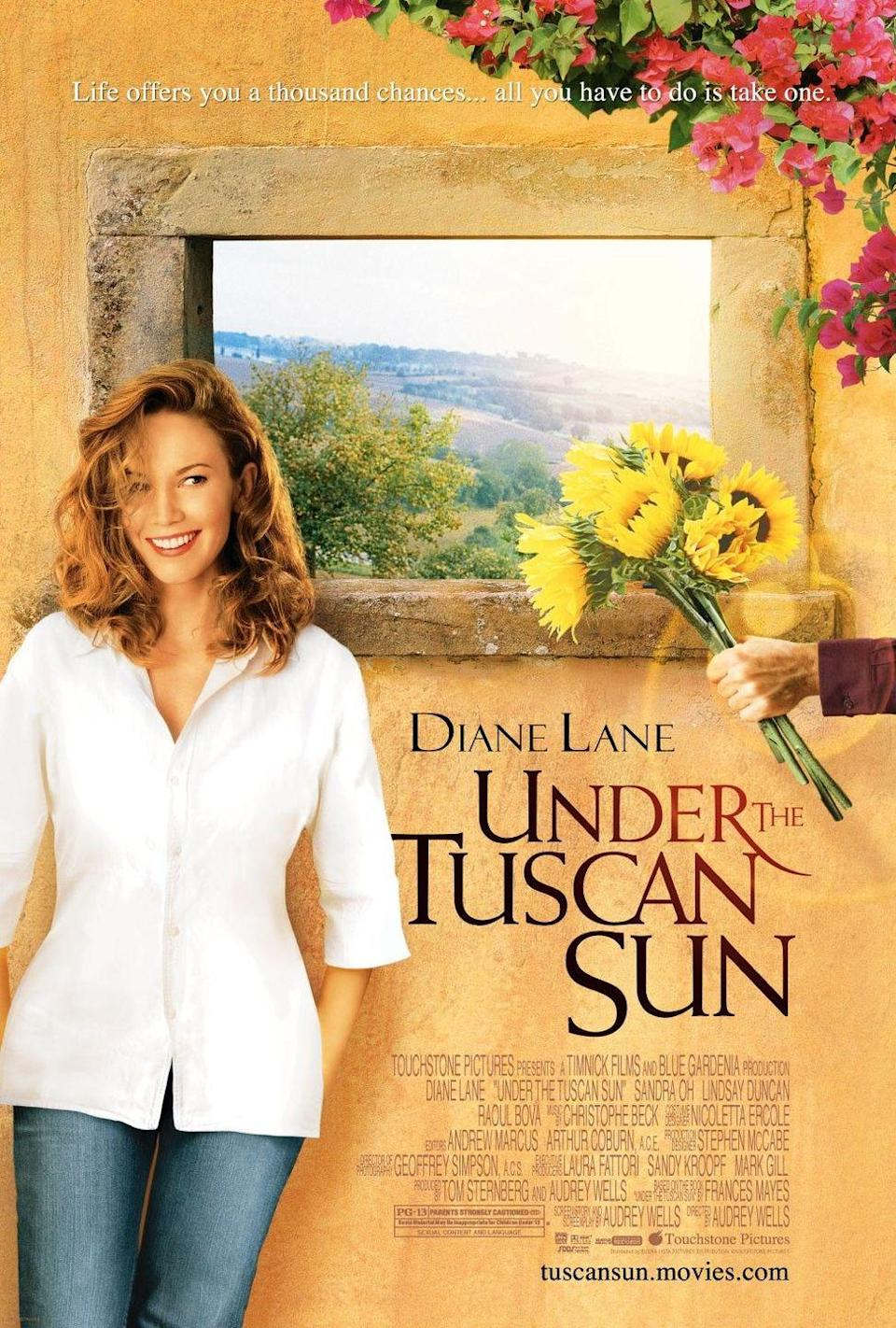 """<p><a class=""""link rapid-noclick-resp"""" href=""""https://www.amazon.com/Under-Tuscan-Sun-Diane-Lane/dp/B00HMDRK56/ref=sr_1_1?tag=syn-yahoo-20&ascsubtag=%5Bartid%7C10050.g.25810122%5Bsrc%7Cyahoo-us"""" rel=""""nofollow noopener"""" target=""""_blank"""" data-ylk=""""slk:STREAM NOW"""">STREAM NOW</a></p><p>Diane Lane jets off on an Italian vacation, and ends up making herself at home in a gorgeous villa. </p>"""