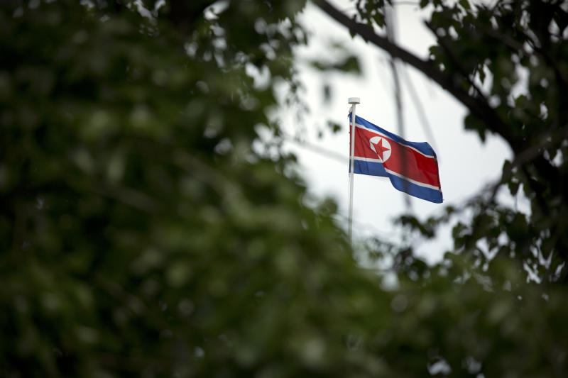 The North Korean flag flies above the North Korean Embassy in Beijing, Thursday, April 20, 2017. The U.S. is piling the pressure on Beijing to use its clout with North Korea to rein in its nuclear and missile programs. China is the North's most important trading partner and ally, but Pyongyang has ignored Beijing's calls for a suspension of those programs and its requests for high-level bilateral talks. (AP Photo/Mark Schiefelbein)