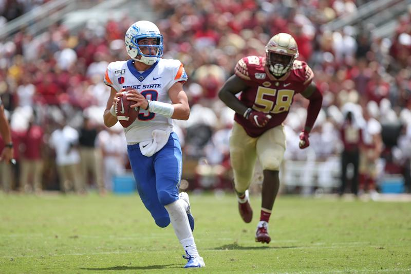 JACKSONVILLE, FL - AUGUST 31: Boise State Broncos quarterback Hank Bachmeier (19) scrambles during the game between the Boise State Broncos and the Florida State Seminoles on August 31, 2019 at Doak Campbell Stadium in Tallahassee, Fl. (Photo by David Rosenblum/Icon Sportswire via Getty Images)