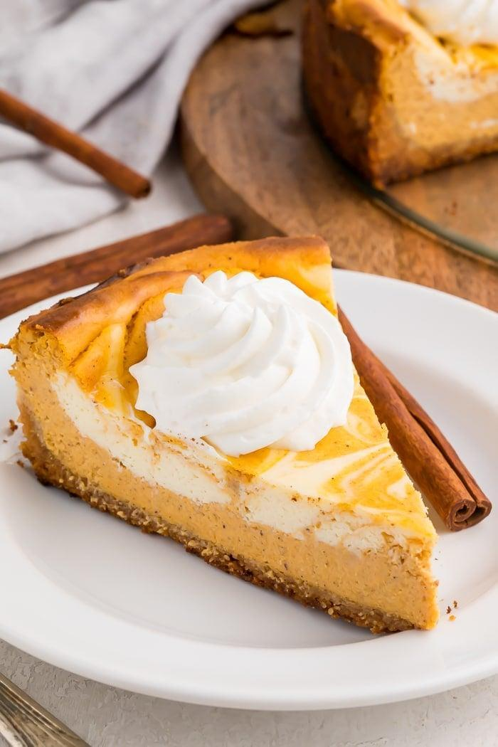 """<p>Looking for a low-carb sugar-free dessert? We've got just the thing for you! This pumpkin cheesecake is rich, creamy, and oh-so good.</p> <p><strong>Get the recipe</strong>: <a href=""""https://40aprons.com/keto-pumpkin-cheesecake/#wprm-recipe-container-37492"""" class=""""link rapid-noclick-resp"""" rel=""""nofollow noopener"""" target=""""_blank"""" data-ylk=""""slk:keto pumpkin cheesecake"""">keto pumpkin cheesecake</a></p>"""