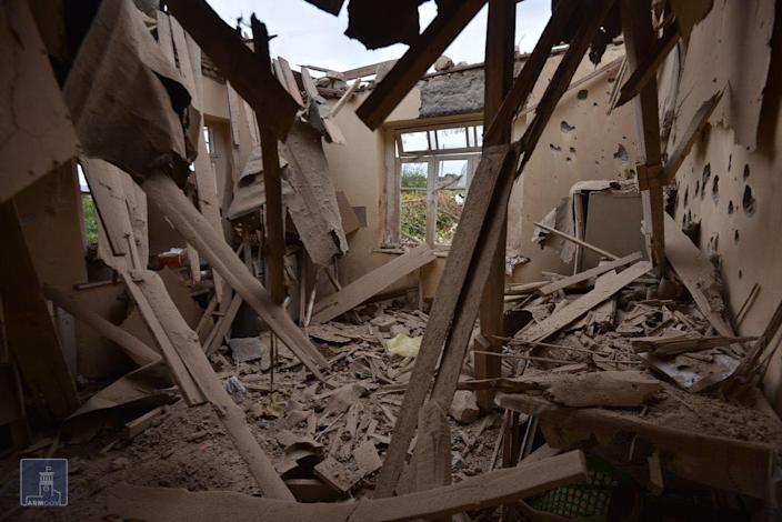 A house is damaged by shelling in Nagorny Karabakh region (Armenian Foreign Ministry/AFP via Getty)