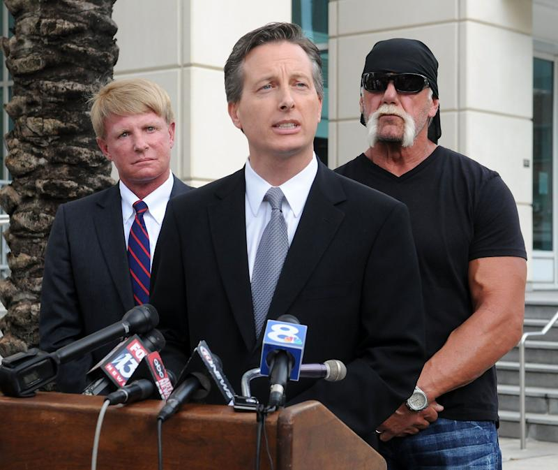 Charles Harder, center, speaks during a press conference with his client Hulk Hogan and fellow attorney David Houston, left, on Oct. 15, 2012.