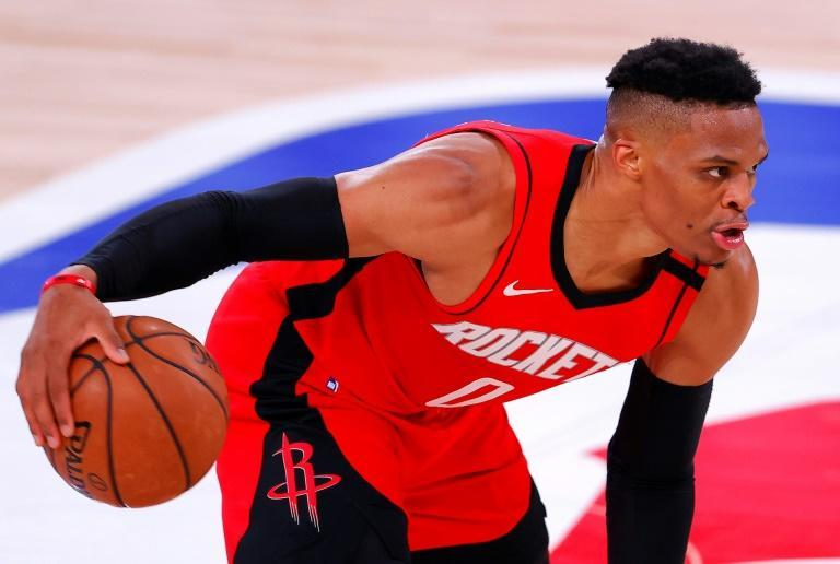 Houston's Russell Westbrook scored 31 points to help spark the Rockets over the Milwaukee Bucks 120-116 in an NBA game on Sunday (AFP Photo/Mike Ehrmann)