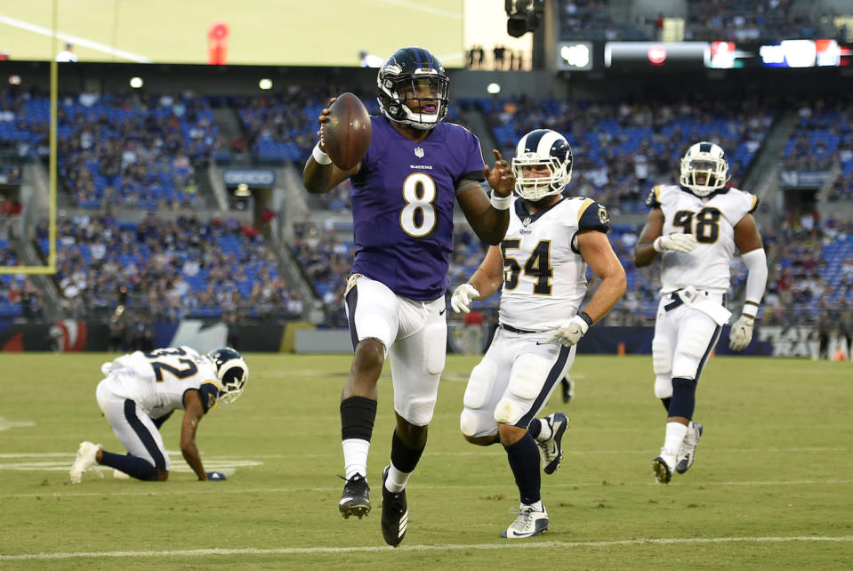 """<a class=""""link rapid-noclick-resp"""" href=""""/nfl/players/31002/"""" data-ylk=""""slk:Lamar Jackson"""">Lamar Jackson</a> has looked rough around the edges this Preseason, but he remains a fascinating late-round grab for fantasy purposes. (AP Photo/Nick Wass)"""