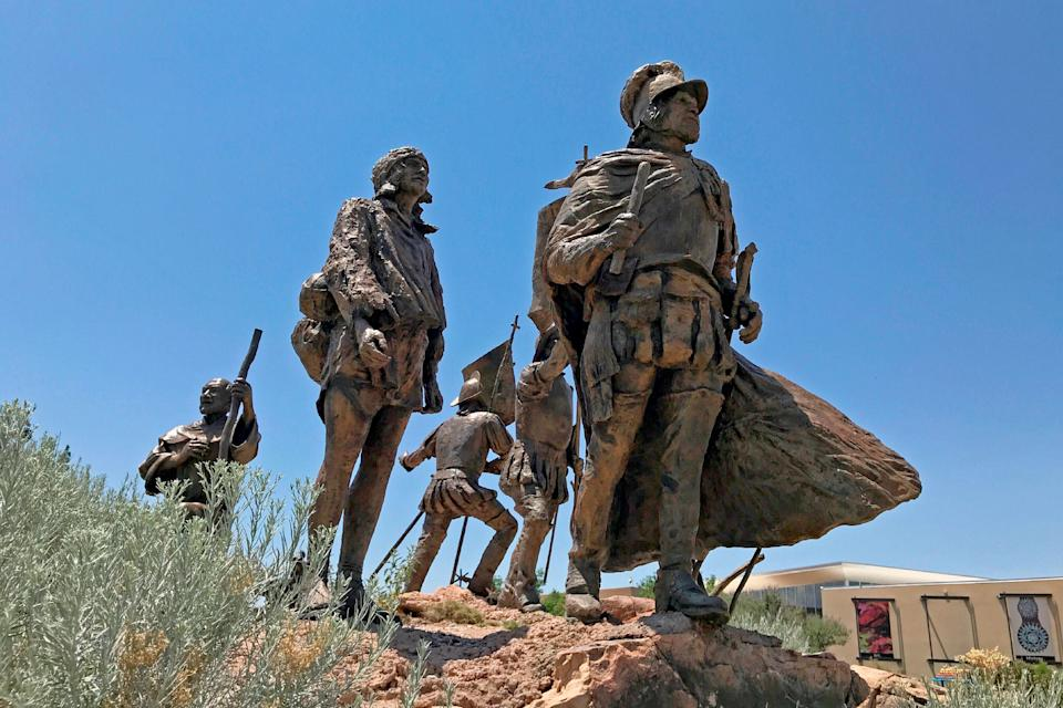 This bronze statue of Don Juan de Oñate leading a group of Spanish settlers from an area near what is now Ciudad Chihuahua, Mexico, to what was then the northernmost province of New Spain in 1598, stands outside the Albuquerque Museum on June 12. Two public statues of Oñate in New Mexico are drawing renewed criticism as memorials erected to honor Confederate leaders become a focus of protests.  (Photo: Susan Montoya Bryan/ASSOCIATED PRESS)