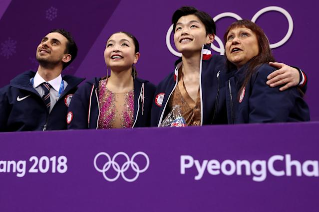 Maia and Alex Shibutani of the Team USA react after competing during the short dance. (Getty Images)
