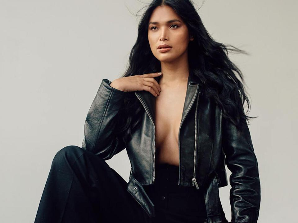 """Frame Leather Crop Moto Jacket, $696.99, available at Frame; Stella McCartney pants; Kenneth Cole Alyssa Leather Boot, $250, available at Kenneth Cole.<span class=""""copyright"""">Photographed by David Urbanke.</span>"""