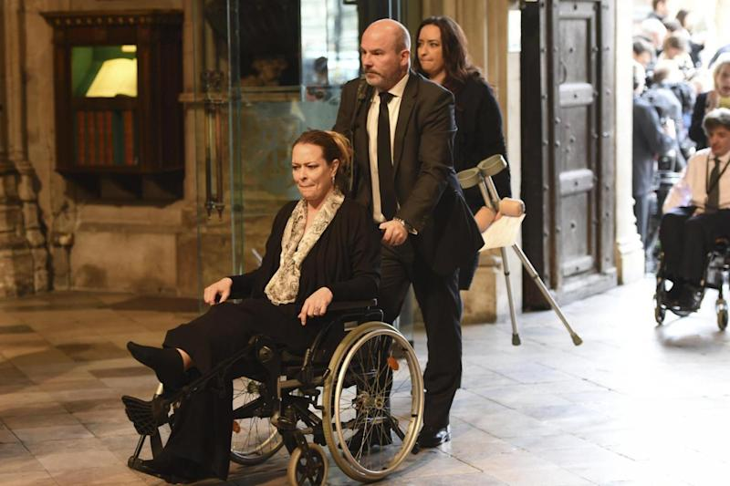 Tribute: US tourist Melissa Cochran, whose husband Kurt was killed in the Westminster attack, arrives for a memorial service at Westminster Abbey (AP)