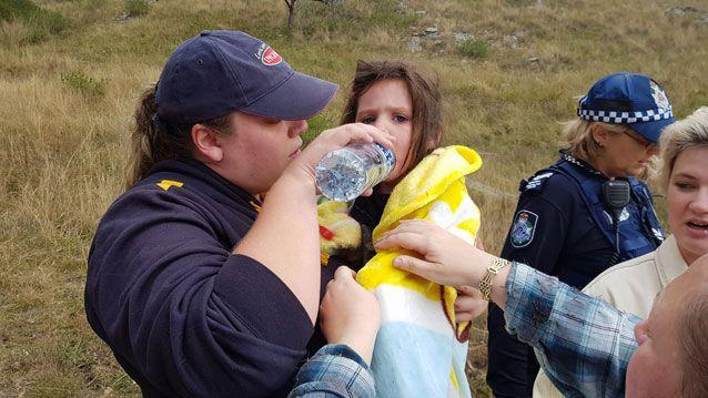Aurora reunited with family after getting lost in bushland near Warwick in Queensland. Source: Facebook/ Kelly Benston